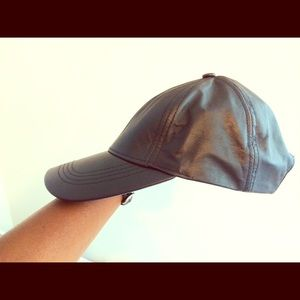 Black Real Leather Dads Hat